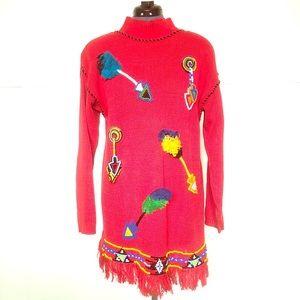 Vintage Ugly Sweater, Red Oversized Shoulder Pads
